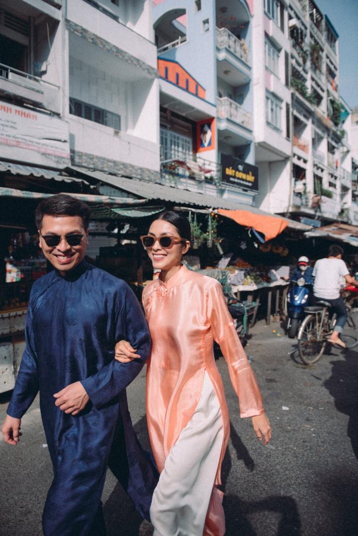 Tăng Thanh Hà diện áo dài sánh bước cùng người mẫu Quang Tuyến - 2