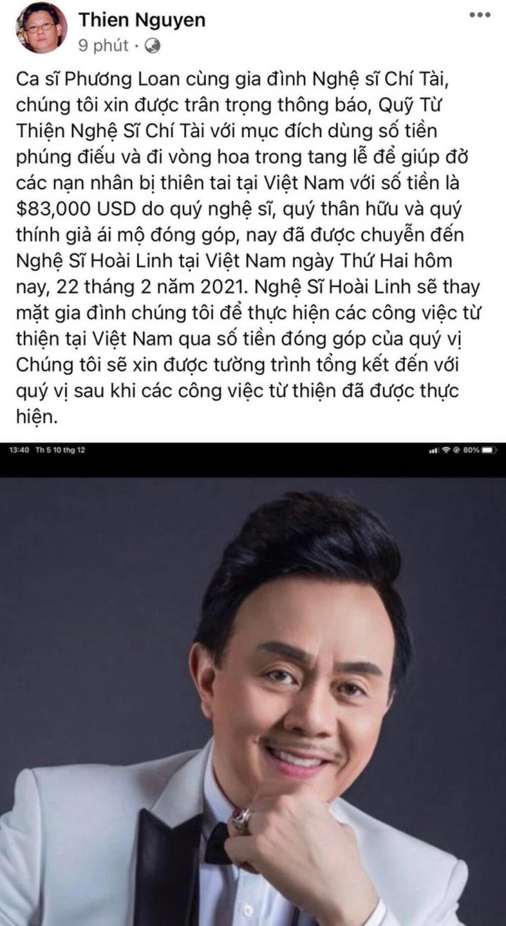 Gia đình danh hài Chí Tài chuyển gần 2 tỷ đồng tiền phúng để lập quỹ từ thiện - 2