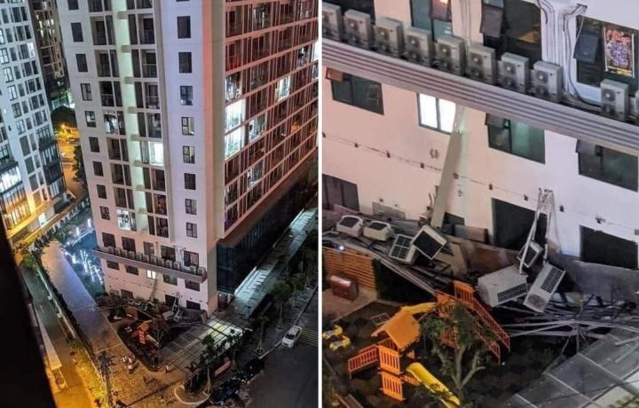 Dàn điều hoà khổng lồ ở chung cư Hà Nội đổ sập xuống sân chơi trẻ em - 1