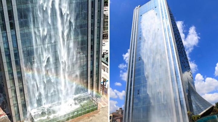 Video: Thác nước nhân tạo trên tòa nhà cao 107m ở Trung Quốc