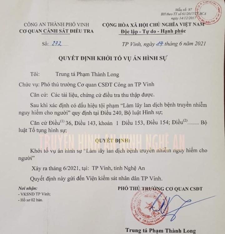 Khởi tố vụ án làm lây lan dịch bệnh COVID-19 ở Nghệ An - 1