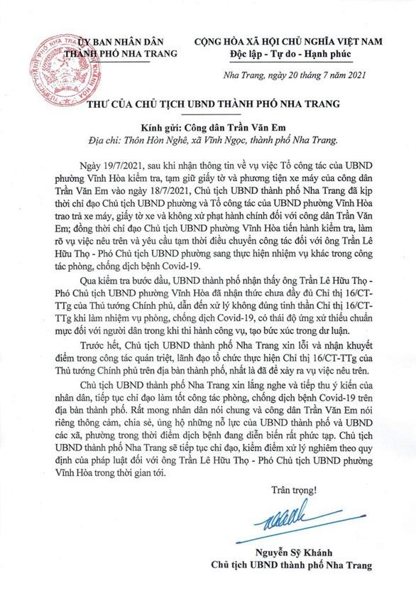 Chủ tịch TP Nha Trang xin lỗi người bị PCT phường giữ xe khi đi mua bánh mì - 1