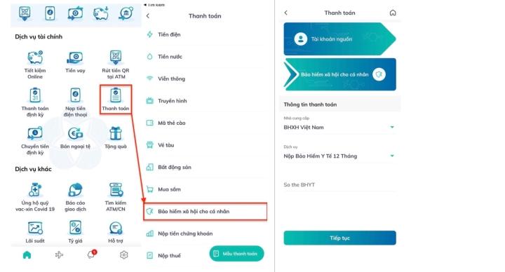 Hướng dẫn đóng tiếp BHXH tự nguyện, gia hạn thẻ BHYTqua ứng dụng của ngân hàng - 2