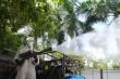 Ảnh: Dàn xe đặc chủng của quân đội khử khuẩn 4 huyện ở Bắc Giang