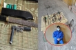 Cảnh sát ập vào nhà trùm ma túy, thu nhiều đao, kiếm, súng bắn điện