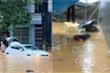 Lào Cai mưa lớn, ô tô chết máy, xe máy ngập gần tới yên