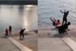 Hai chàng trai xui xẻo bị đá thẳng xuống hồ nước