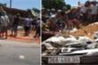 Xe tải chở đất lật trúng xe con, 3 người chết thảm