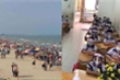 Bãi biển kín người không đeo khẩu trang, sao bắt học sinh 'hóa' robot trong lớp?
