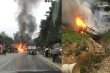 Phá cửa kính cứu tài xế mắc kẹt trong xe ô tô bốc cháy ở Tuyên Quang