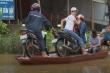 Video: Dân Thanh Hóa chèo thuyền chở xe máy qua quốc lộ bị ngập sâu